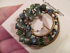 *NEW Catherine Stein Gold Tone Floral Leaf Pin Brooch Blue Green Crystals