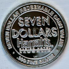 "Harrah's Laughlin ""Cactus"" .999 Fine Silver $7 Silver Strike VERY NICE"