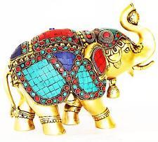 Elephant Statue Elegant Lucky Wealth Figurine Gift & Home Decor Brass Stonework