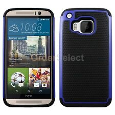 NEW Hybrid Rugged Rubber Hard Case Skin for Android Phone HTC One M9 Blue HOT!