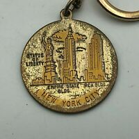 Vintage New York City Statue Of Liberty Empire State Bldg RCA FOB Keychain R9