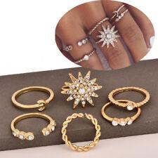 6 Pcs/set Lady Gold Midi Finger Ring Set Vintage Punk Boho Knuckle Rings Jewelry