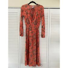 & Other Stories Floral Midi Dress, orange XS