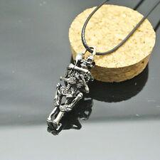 Men Infinity Tibet Silver Black Stainless Steel Hug Skull Pendant Chain Necklace