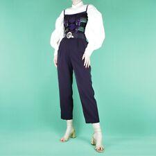 VINTAGE 90s Navy Blue High Waist Smart Pleat Crop Dark Capri Trousers Pants S 10