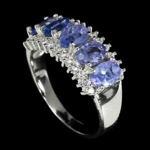 Ring Blue Tanzanite Genuine Natural Gems Sterling Silver Band Size R  US 8.75
