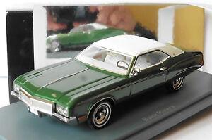 BUICK RIVIERA MKII GREEN METAL WHITE ROOF 1970 NEO 44725 1/43 GRUN METALLIC VERT