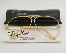 Vintage B&L Ray Ban Bausch & Lomb 62mm Gold Prescription Shooter Frame w/Case