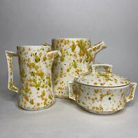 Vintage MCM Arnel's Ceramic Splatter Drip Glaze Paint Colorful Funky Tea Set Pot