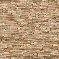 WALL PAPER ROLLS TEXTURED SMALL BRICK STONE WALLPAPER MODERN BROWN LATTE 1005A