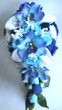 17 piece Wedding Bouquet Silk Flower Bridal AQUA NAVY BLUE ORCHID CALLA LILY