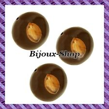 Perle graine ampion bombé marron X5