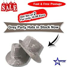 Grey Trilby Sequins Fancy Dress Party Hats Hen Stag Glitter Gangster Caps Adults