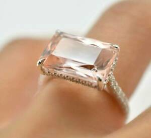 Emerald Cut 2 CT Morganite & CZ Solitaire Wedding 925 SS Ring 14K Rose Gold Over
