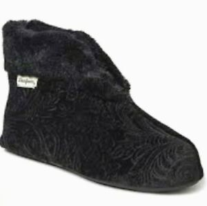 Dearfoams Black Velour Indoor Outdoor Bootie Slippers Womens Shoe Size Small 5-6