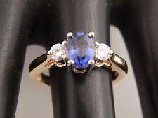 1.26 tcw Sapphire Diamond 3 Stone Ring E/VVS 14k YG Engagement Designer GemArt