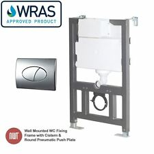 Wall Mounted Toilet Fixing Frame - Cistern & Oval Chrome Pneumatic Push Plate