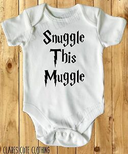 SNUGGLE THIS MUGGLE HARRY POTTER BABY VEST/ GROW WHITE AVAILABLE IN MOST SIZE