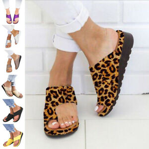 WOMENS SANDALS LOW WEDGE FLIP FLOPS SUMMER BEACH SHOES SLIPPERS SIZE 35-43