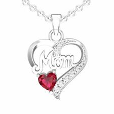 "Sterling Silver 1.3CTW Created Ruby Mom Necklace with 18"" Singapore Chain"
