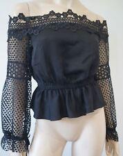 SELF-PORTRAIT Black Off Shoulder Elasticated Waist Long Sleeve Lace Blouse Top 8