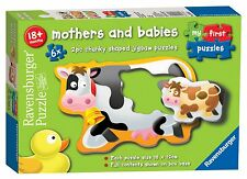 NEW! Ravensburger Mothers & Babies 6 x 2pc chunky shaped puzzles Age 18 months+