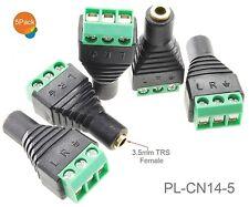 "5-Pack 3.5mm 1/8"" TRS Female Jack to AV 3-Screw Terminal Block Balun Connector"