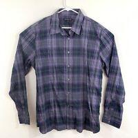 John Varvatos Mens Purple Plaid Button Down Long Sleeve Shirt Size XXL 2XL