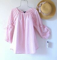 New~$70~Pink Cotton Eyelet Lace Peasant Blouse Ruffle Boho Top~Size Large L