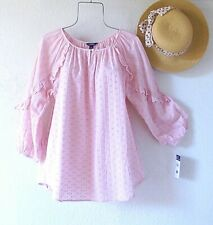 New~$70~Pink Cotton Eyelet Lace Peasant Blouse Ruffle Boho Top~Size Small S