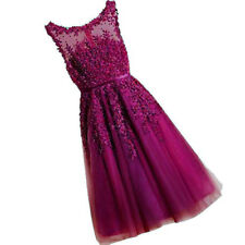 New Short Tulle Lace Bridesmaid Prom Dress Wedding Evening Formal Party Ball Gow