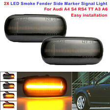 2X Dynamic LED Smoked Signal Lights Side Marker Turn For Audi A4 S4 RS4 TT A3 A6