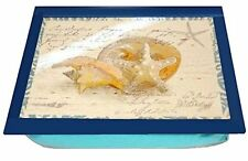 Beach Nautical Laptop Desk Lap Tray, Features Seashells & Starfish Bean Bag Back