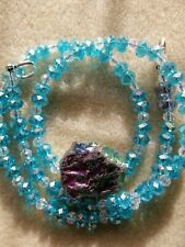 Blue Titanium Agate  Druzy with  Blue Crystal Necklace