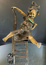 Sculpture--Bronze--Pretty Little Girl Sitting and Playing with Her Cats--SIGNED