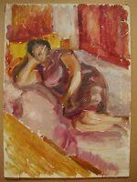 Russian Ukrainian Soviet Oil Painting Impressionism woman rest