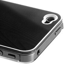 for iPhone 4 4G 4S - Black Acrylic Metal Aluminum Hard Protector Case Cover