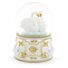 Two White Swans in Love Snow Globe