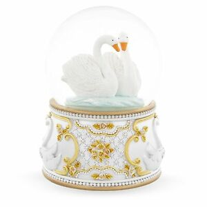 White Swans in Love Musical Water Snow Globe