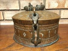 RARE 1800 ANTIQUE OLD INDO PERSIAN HAND HAMMERED COPPER SPICE LOCK BOX STEAMPUNK