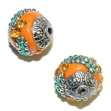 IB228 Orange with Silver 15mm Round Indonesia-Style Metal & Enamel Beads 10pc