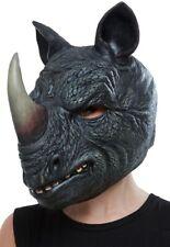 Nashorn Gesichtsmaske Latex Grau Bedeckt den ganzen Kopf