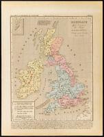 1859. Bretaña Invasión De Saxons. Mapa Geográfica Antigua. de Inglaterra