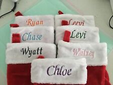 "CHRISTMAS STOCKINGS PERSONALIZED NAMES SANTA SOCKS PLUSH RED & WHITE 18"" LONG"