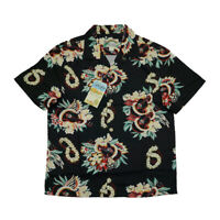 BOB DONG Steampunk Guitar Floral Print Casual Hawaiian Shirts Reggae Aloha Black