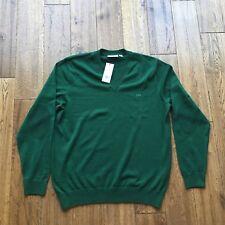 Men's V Neck Lacoste Jumper In Green Size 6  XL BNWT