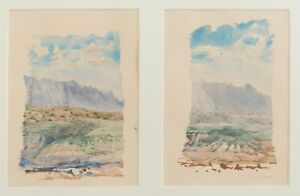 Bruce McGrew, Arizona Landscape, Watercolor Diptych, 1970s