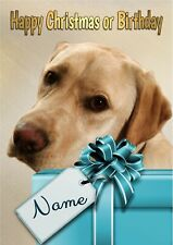 Personalised Yellow Labrador Birthday or Christmas Card + blank textured insert