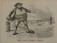 """7x10 """"PUNCH CARTOON 1851 IL NUOVO Siamese TWINS Dover a Calais TELEGRAFO Cavo"""