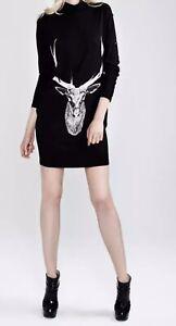 BLACK DEER ELK PRINTED DRESS WOMENS SIZE 8 SMALL